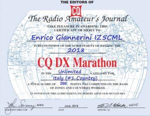 CQ DX MARATHON 2018 IZ5CML 1ST Italy