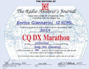 CQ DX MARATHON 2019 IZ5CML 1ST Italy (FT8 free…)